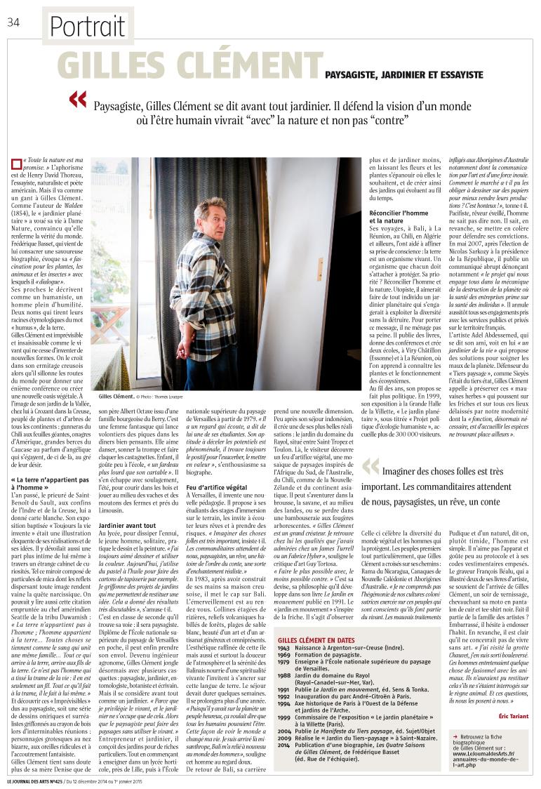 Gilles Clement dans Le Journal des Arts