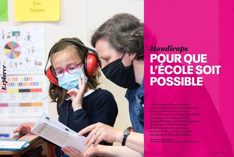 11 pages de reportage sur une AESH pour La Croix Hebdo